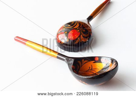 Wooden Spoons Decorated With Colored Inks.  Russian Spoons.