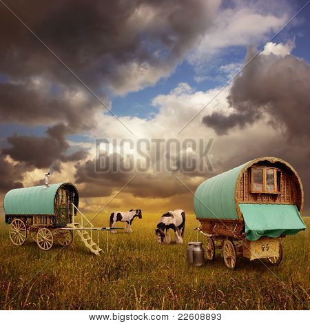 Old Gypsy Caravans Trailers Wagons with Horses poster