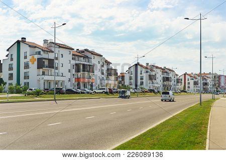 Russia, Sochi, Krasnodar Region-june 06.2017: Landscaped New Neighborhood Of Low-rise Buildings In T