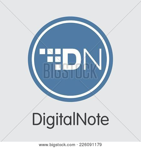 Digitalnote - Cryptocurrency Concept. Colored Vector Icon Logo And Name Of Virtual Currency On Grey