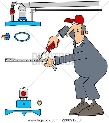 Illustration Of A Plumber Wearing Coveralls Installing An Earthquake Strap Tie Down On A Gas Water H