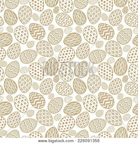 Easter Eggs Seamless Pattern Gold Style For Printing On Fabric, Gift Wrap, Decoration, Scrapbooking,