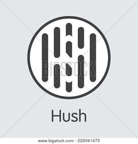 Cryptocurrency Concept. Vector Colored Logo Of Hush. Digital Currency Simbol. Vector Illustration Of