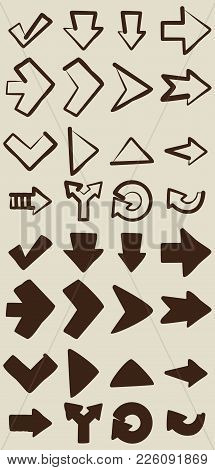 Vector Hand Drawn Arrows Elements For Your Design. Sketch Arrows Isolated. Vintage Vector Sketch Arr