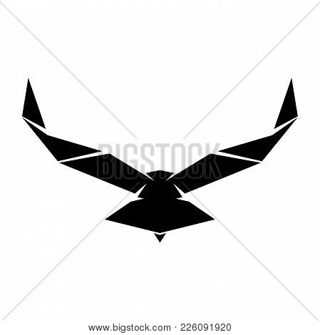 Vector Eagle Or Hawk Isolated Emblem. Gothic Or Imperial Predatory Falcon Symbol With Open Spread Wi