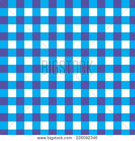 Checkered Shades Of Blue And Yellow Vector Pattern As A Tartan Plaid