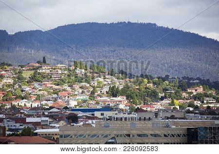 The Sunlit Residential District In Hobart, The Capital Of Tasmania.