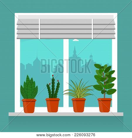 Room Plants In Pots On The Windowsill. Blinds On The Window, Cityscape Outside The Window. Vector Il