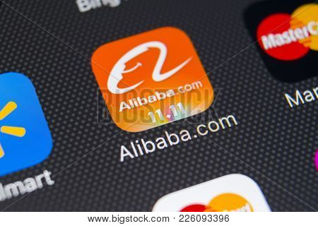 Sankt-petersburg, Russia, February 9, 2018: Alibaba Application Icon On Apple Iphone X Smartphone Sc