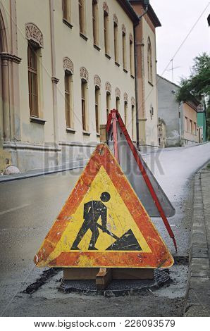 Road Closed Sign For Construction Works In Street. Road Repair Sign.