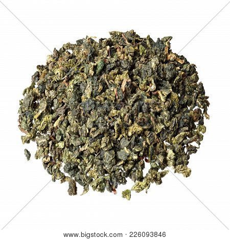 Tieguanyin Tea Leaves, Chinese Famous Oolong Tea Isolated On White.
