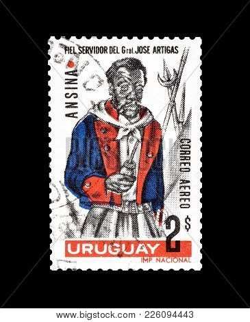 Uruguay - Circa 1967 : Cancelled Postage Stamp Printed By Uruguay, That Shows Servant Ansina.