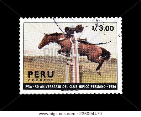 Peru - Circa 1987 : Cancelled Postage Stamp Printed By Peru, That Promotes 50th Anniversary Of Natio
