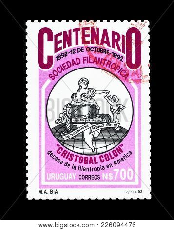 Uruguay - Circa 1992 : Cancelled Postage Stamp Printed By Uruguay, That Promotes Columbus Society.
