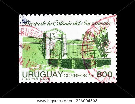 Uruguay - Circa 1993 : Cancelled Postage Stamp Printed By Uruguay, That Shows Entrance Of Colonia De