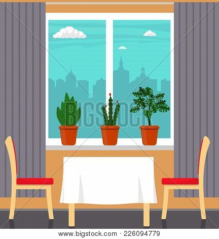 Big Window With Curtain And Plants In Pots On The Windowsill, Table With White Tablecloth And Two Ch