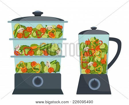 Stylish Modern Double Boiler And Blender With Different Vegetables Inside. Broccoli, Pepper, Red Tom