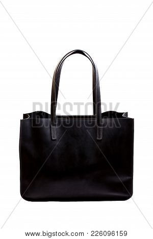 Luxury Black Bag Isolated On White. High Resolution Photo.