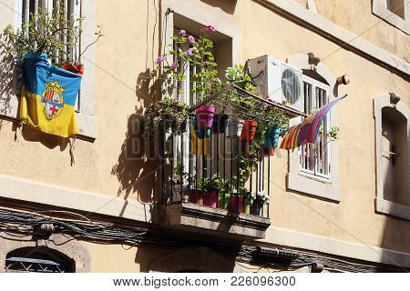 Barcelona, Spain - May 17, 2017: This Is A Fragment Of The Facade Of A Residential Building In The B