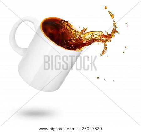 Mug Of Spilling Coffee Or Tea Isolated On White Background. Coffee Splash In Cup