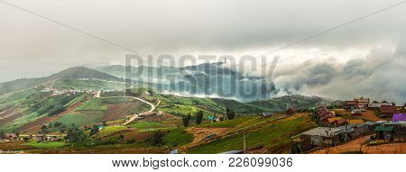 Lanscape Of  Misty Mountains On Morning At Phutubberg Thailand