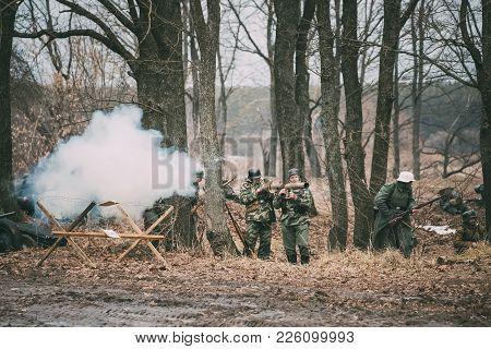 Rogachev, Belarus - February 25, 2017: Re-enactors Dressed As German Wehrmacht Infantry Soldier In W