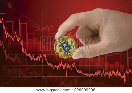 Fall In Exchange Bitcoin. Decrease Of Value Cryptocurrency. Falling Downtrend Price Graph Background