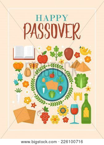 Passover Holiday Greeting Card Design With Seder Plate And Matzo