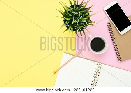 Office Desk Working Space - Flat Lay Top View Of A Working Space With White Blank Notebook Page, Cof