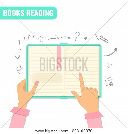 Books Reading, Books Research, Education Concept. Open Book With Sketch School Elements. Vector Illu
