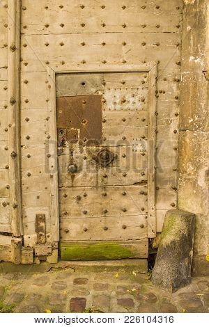 Old Wooden Door With Rusty Door Lock Europe