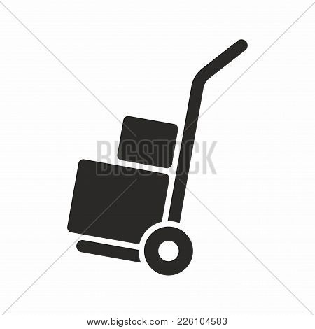 Hand Truck. Vector Icon Isolated On White Background.