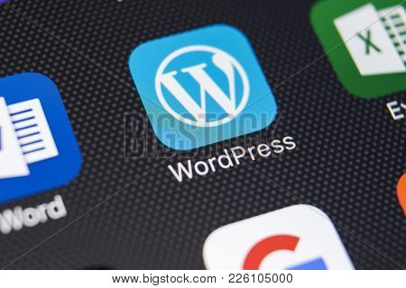 Sankt-petersburg, Russia, February 9, 2018: Wordpress Application Icon On Apple Iphone X Screen Clos