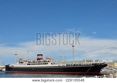August 1, 2016 - Naka-ku, Yokohama, Japan : Hikawa Maru Class Motor Ships In Yamashita Park.