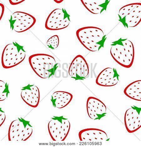 Strawberry Vector Seamless Pattern Background. Fruit Illustration On White Background, Seamless Back