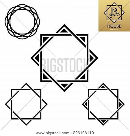 Decorative Border For Your Logo. Design Elements Set.  Modern Monogram. Vector Logo Letter B Monogra