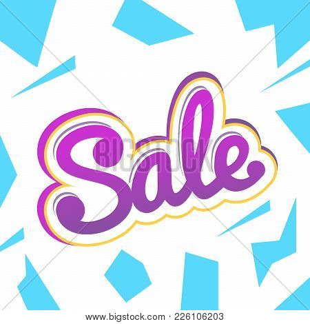 A Colour Banner For Advertising Sales. Bright Shards On A White Background. Bulk Violet Text Sale. V