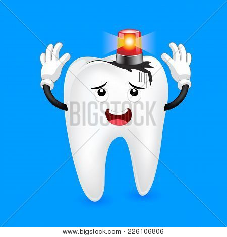 Decayed Tooth With Siren Character. Dental Care Concept,  Illustration Isolated On Blue Background.