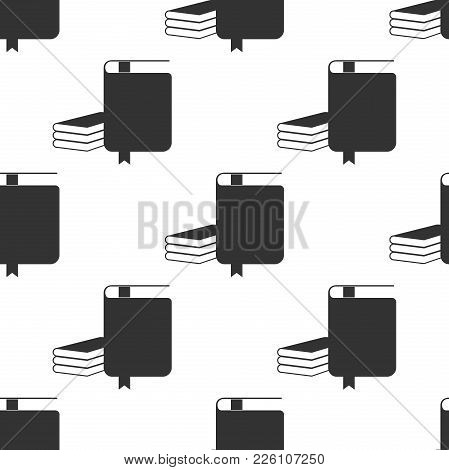Book Icon Seamless Pattern On White Background. Flat Design. Vector Illustration
