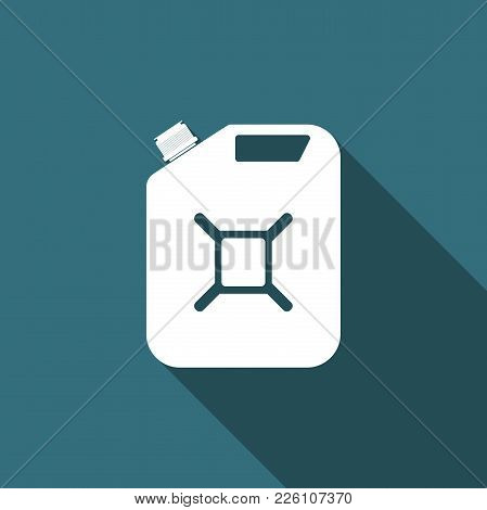 Canister For Gasoline Icon Isolated With Long Shadow. Diesel Gas Icon. Flat Design. Vector Illustrat