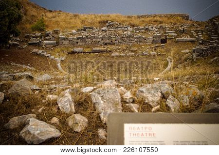 Theatre Ruins Of Ancient Thera At The Top Of The Mountain Mesa Vouno In Santorini Island, Greece