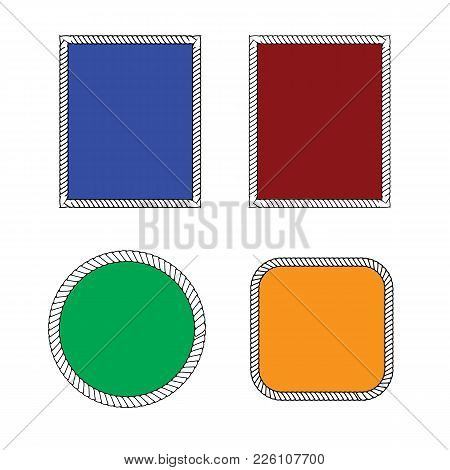Set Of Round Vector Frames From Nautical Rope Isolated On White Background. Collection Of Thick And