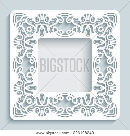 Square Photo Frame With Lace Border Pattern, Swirly Vector Ornament, Template For Laser Cutting Or C