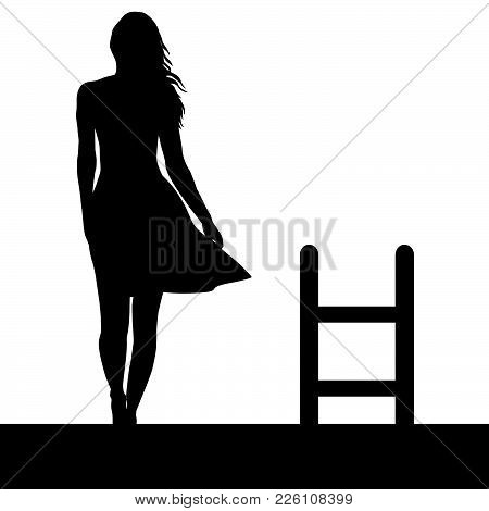 Woman Silhouette With Ladder On The Roof. Suicide Concept