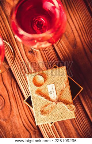 Valentine's Day Background With Wine, Box, Ring