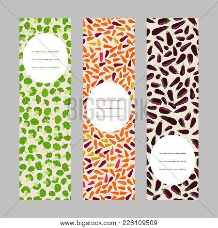 Vegetarian Banner Set. Vertical Flyers. Colorful Vegetables. Fresh Broccoli, Rainbow Carrots And Rip