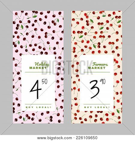 Farmers Market Price Tags. Sale Design. Copy Space. Holiday Market Banner Set. Colorful Cherry Price