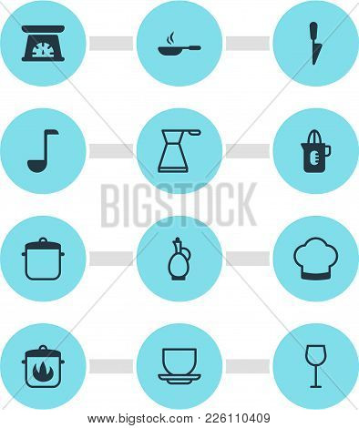 Vector Illustration Of 12 Kitchenware Icons. Editable Set Of Decanter, Cooking Hat, Squeezer And Oth
