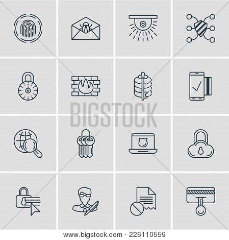 Vector Illustration Of 16 Protection Icons Line Style. Editable Set Of Security Settings, Author Rig