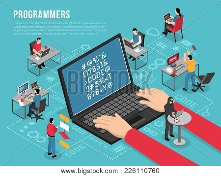 Computer Programmers Work Isometric Conceptual Composition Poster With Software Developer Code Sampl